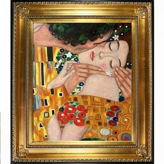 "La Pastiche The Kiss, Close-Up by Gustav Klimt with Gold and Black Regency Frame Oil Painting Wall Art, 32.5"" x 28.5"""