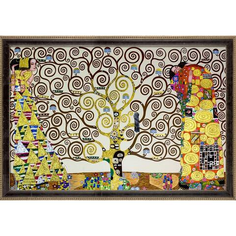 """La Pastiche The Tree of Life, Stoclet Frieze, 1909 by Gustav Klimt Cabernet and Champagne Athenaeum Framed Art, 39.5"""" x 27.5"""""""