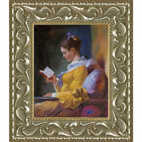 "La Pastiche The Reader by Jean-Honore Fragonard with Silver and Gold Rococo Antiqued Frame Oil Painting Wall Art, 15.5"" x 13.5"""