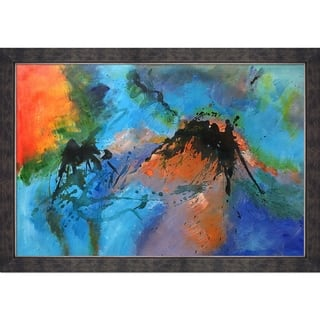 "ArtistBe Abstract 96532 Reproduction by Pol Ledent with Walnut, Champagne, Gold Suede Premier Frame Oil Painting, 40"" x 28"""