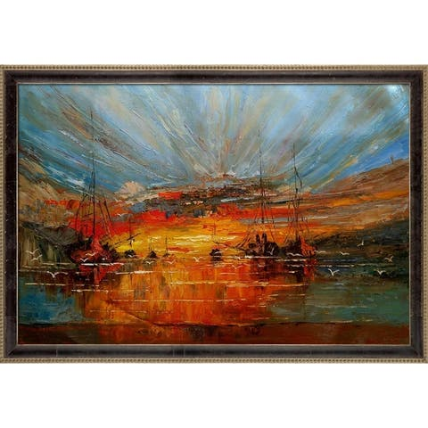 """ArtistBe Boats Reproduction by Justyna Kopania with Cabernet and Champagne Antiqued Athenaeum Frame Oil Painting, 39.5"""" x 27.5"""""""