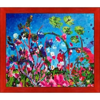 """ArtistBe Bright Meadow Reproduction by Celito Medeiros with Black, Red Stiletto Brushed Frame Oil Painting, 27.5"""" x 23.5"""""""