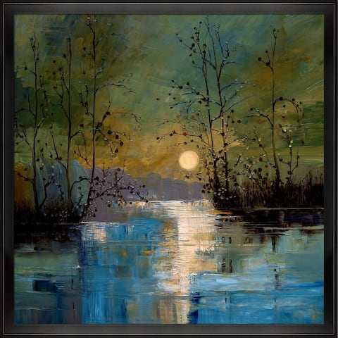 """ArtistBe River, with Glowing Moon by Justyna Kopania with Black Studio Angled Frame Canvas Wall Art, 26.5"""" x 26.5"""""""
