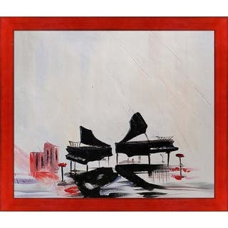 """ArtistBe Transience Reproduction by Justyna Kopania with Black, Red Stiletto Brushed Frame Oil Painting Wall Art, 27.5"""" x 23.5"""""""
