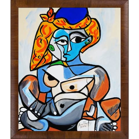 """ArtistBe by overstockArt Turkish King by Nora Shepley with Natural Wood Panzano Frame Canvas Wall Art, 27"""" x 23"""""""