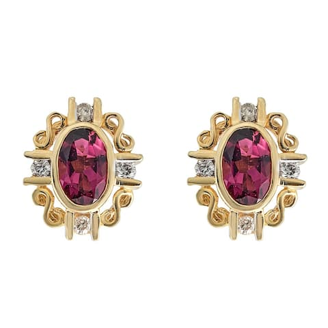 14K YG Rubellite & Diamond Earring by Anika And August - White