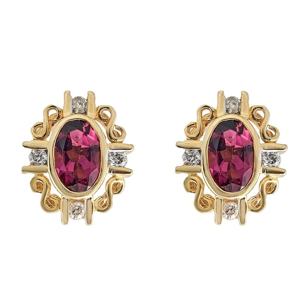 14K YG Rubellite & Diamond Earring by Anika and August - White. Opens flyout.