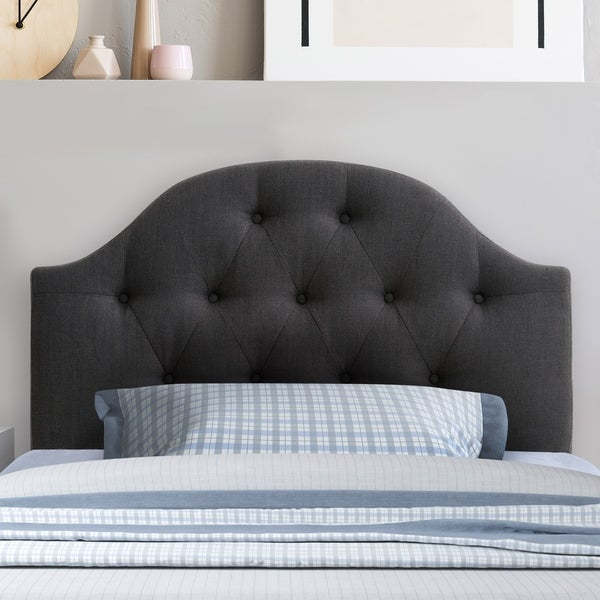 CorLiving Calera Diamond Tufted Fabric Arched Panel Headboard - Twin. Opens flyout.