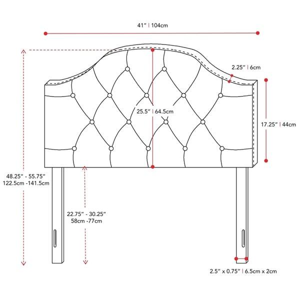 CorLiving Calera Diamond Tufted Fabric Arched Panel Headboard - Twin