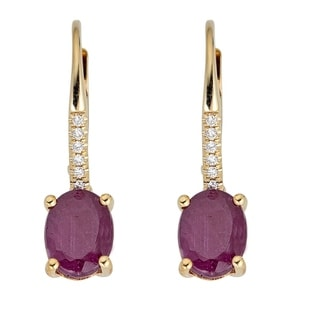 10K Yellow Gold Ruby & Diamond Earring by Anika and August - White