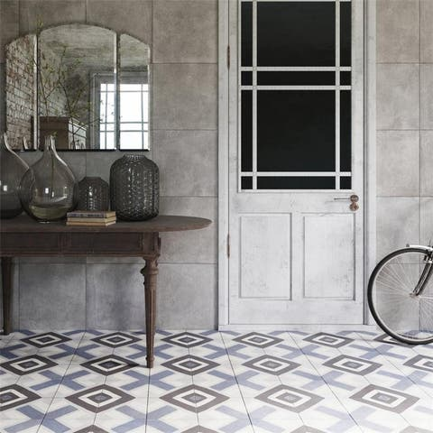 SomerTile 17.88x17.88-inch Royals Capedesaso Azul Porcelain Floor and Wall Tile (5 tiles/11.33 sqft.)