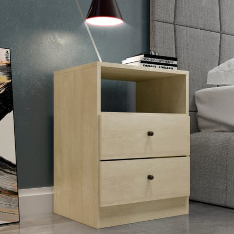 Midtown Concept York 2-Drawer Nightstand. Modern and Contemprary Side Table