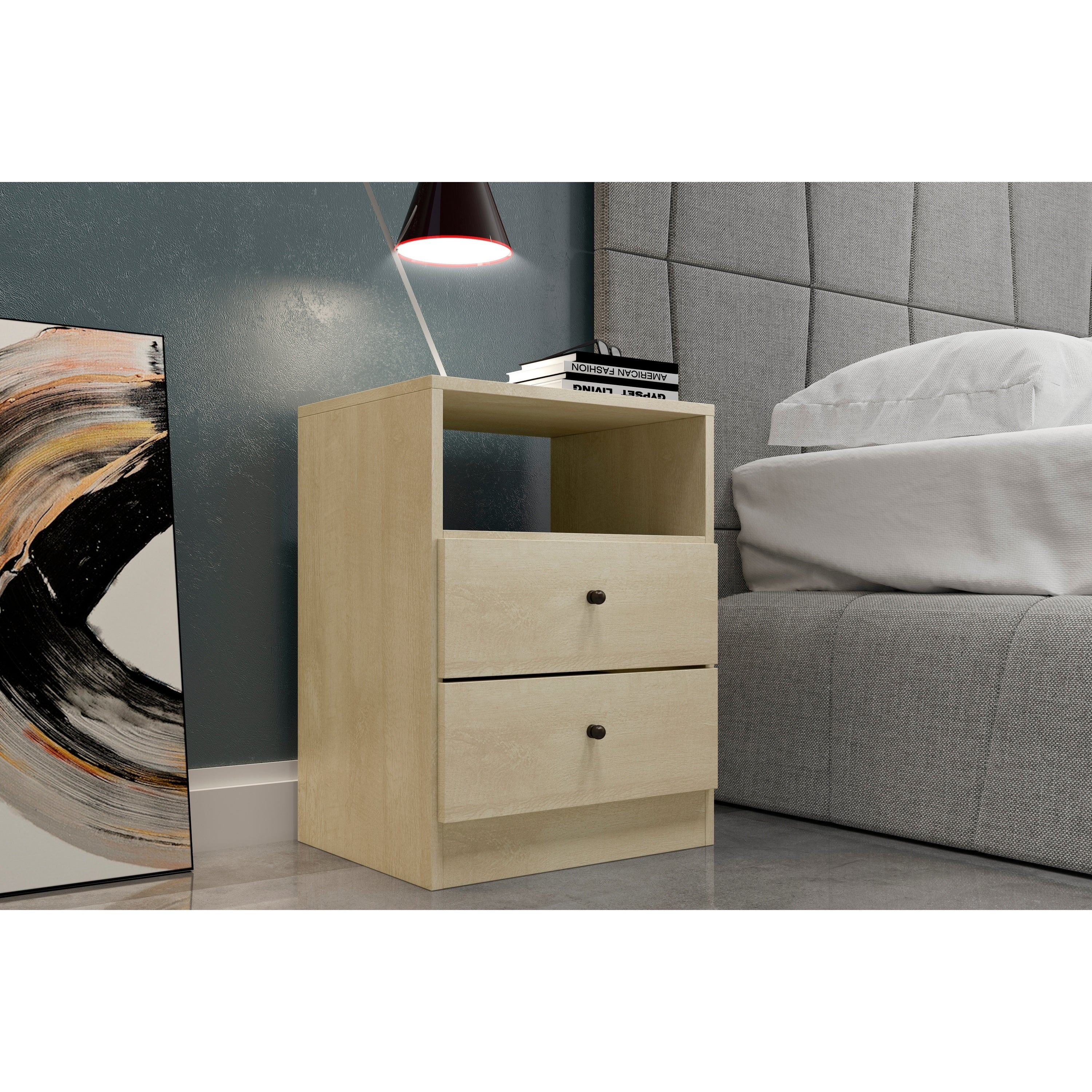 Midtown Concept York 2 Drawer Nightstand Modern And Contemporary Side Table