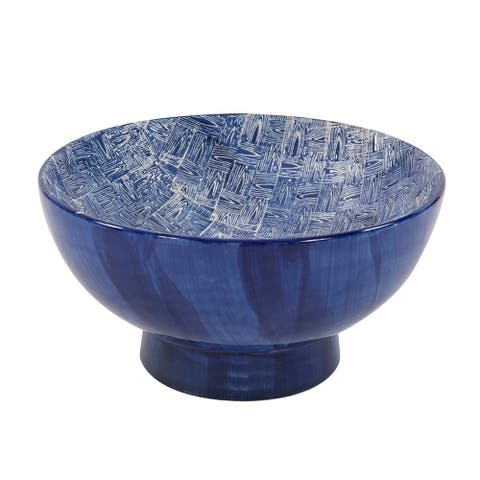 Blue and White Crosshatched Ceramic Bowl