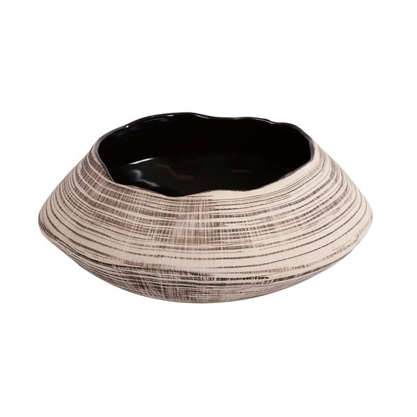 Freeform Neutral Striped Ceramic Bowl