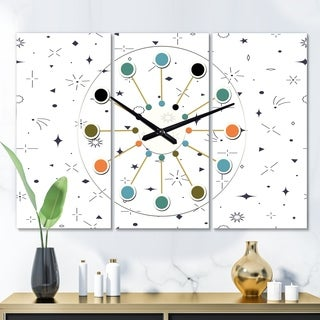 Designart 'Golden Geometrical Diamond Pattern III' Oversized Mid-Century wall clock - 3 Panels