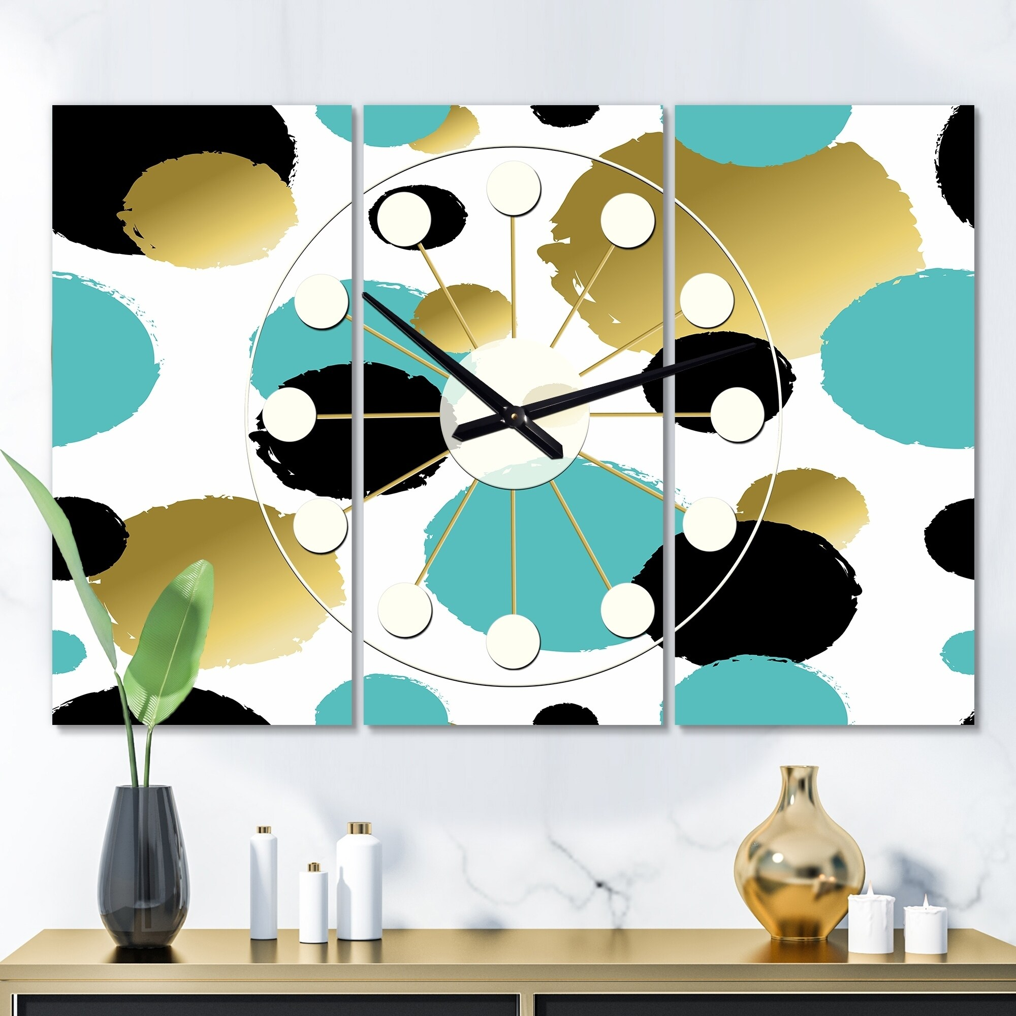 Designart Gold And Blue Circles Oversized Mid Century Wall Clock 3 Panels 36 In Wide X 28 In High 3 Panels Overstock 28495611