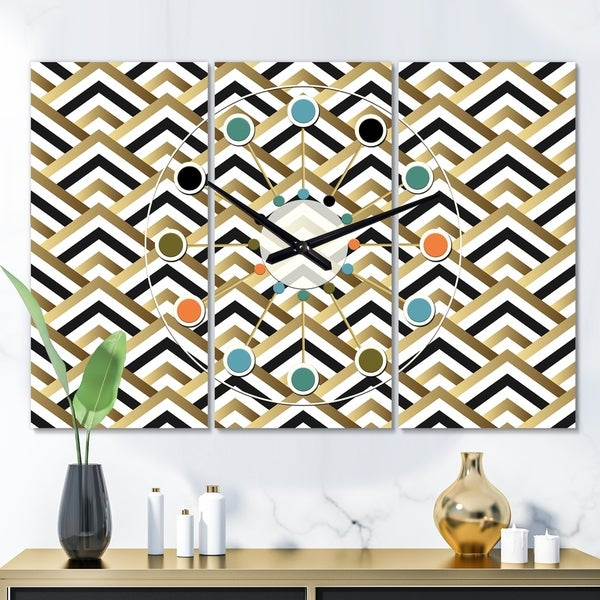 Designart 'Gold black and white triangle' Oversized Mid-Century wall clock - 3 Panels - 36 in. wide x 28 in. high - 3 Panels