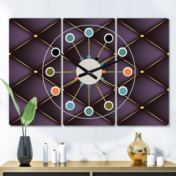 Designart 'Quilted pattern' Oversized Mid-Century wall clock - 3 Panels - 36 in. wide x 28 in. high - 3 Panels