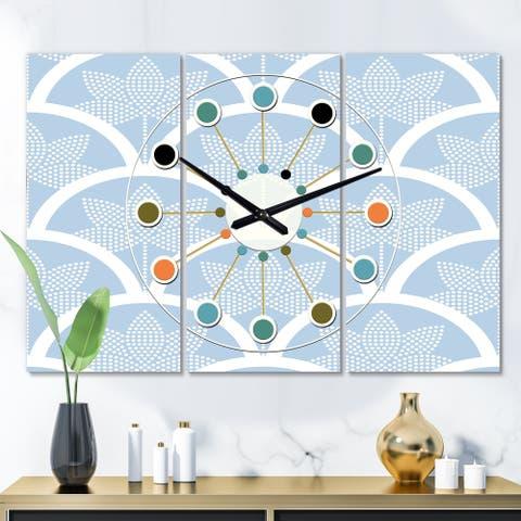 Designart 'Japanese style Half-circle pattern' Oversized Mid-Century wall clock - 3 Panels