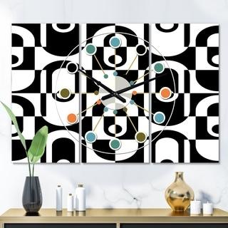 Designart 'Monochrome Geometric Pattern VIII' Oversized Mid-Century wall clock - 3 Panels - 36 in. wide x 28 in. high - 3 Panels