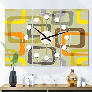 Designart 'Retro Square Design VII' Oversized Mid-Century wall clock - 3 Panels - 36 in. wide x 28 in. high - 3 Panels