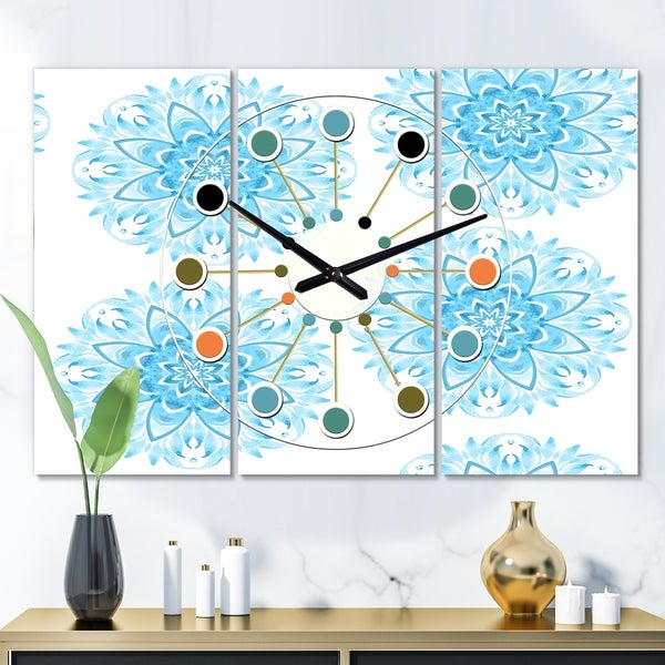 Designart 'Circular Geometric In Blue' Oversized Mid-Century wall clock - 3 Panels - 36 in. wide x 28 in. high - 3 Panels