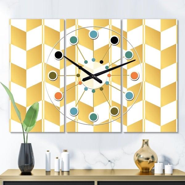 Designart 'Gold and White Geometric Pattern I' Oversized Mid-Century wall clock - 3 Panels