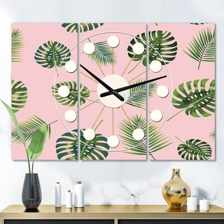 Designart 'Palm Tropical leaves pattern.' Oversized Mid-Century wall clock - 3 Panels - 36 in. wide x 28 in. high - 3 Panels