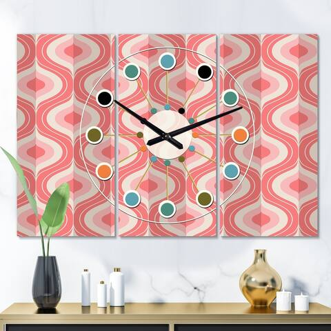 Designart 'Retro Drop Design I' Oversized Mid-Century wall clock - 3 Panels - 36 in. wide x 28 in. high - 3 Panels