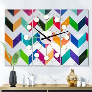 Designart 'Geometrical Retro Design III' Oversized Mid-Century wall clock - 3 Panels - 36 in. wide x 28 in. high - 3 Panels