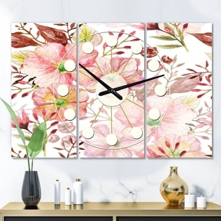 Designart 'Floral Botanical Retro III' Oversized Mid-Century wall clock - 3 Panels - 36 in. wide x 28 in. high - 3 Panels