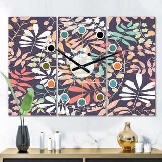 Designart 'Retro Botanical Pattern II' Oversized Mid-Century wall clock - 3 Panels - 36 in. wide x 28 in. high - 3 Panels