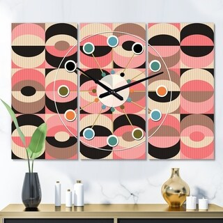 Designart 'Retro Geometric  Design XI' Oversized Mid-Century wall clock - 3 Panels - 36 in. wide x 28 in. high - 3 Panels