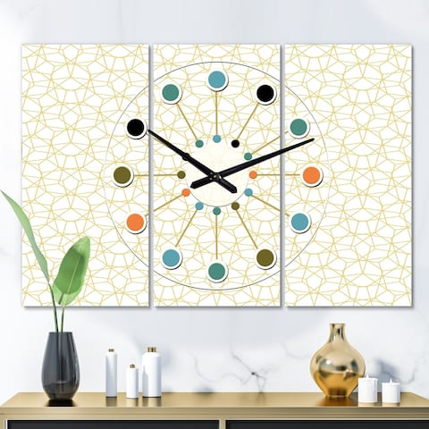 Designart 'Abstract Geometrical ' Oversized Mid-Century wall clock - 3 Panels - 36 in. wide x 28 in. high - 3 Panels