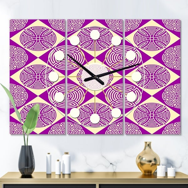 Designart 'Retro Abstract Pattern Design I' Oversized Mid-Century wall clock - 3 Panels - 36 in. wide x 28 in. high - 3 Panels