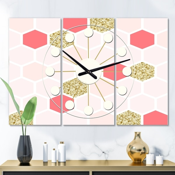 Designart 'Gold Chic Design I' Oversized Mid-Century wall clock - 3 Panels - 36 in. wide x 28 in. high - 3 Panels