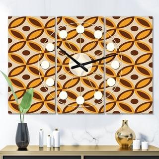 Designart 'Retro Ornamental Design V' Oversized Mid-Century wall clock - 3 Panels - 36 in. wide x 28 in. high - 3 Panels