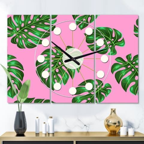 Designart 'Tropical Palm Leaves III' Oversized Mid-Century wall clock - 3 Panels - 36 in. wide x 28 in. high - 3 Panels