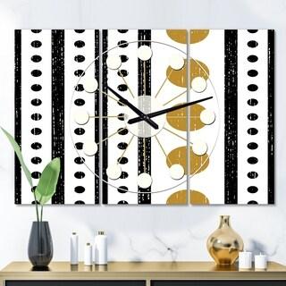Designart 'Retro Geometrical Abstract Minimal Pattern VII' Oversized Mid-Century wall clock - 3 Panels