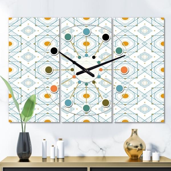 Designart 'Retro Minimal Patttern in Orange and Bluye' Oversized Mid-Century wall clock - 3 Panels. Opens flyout.