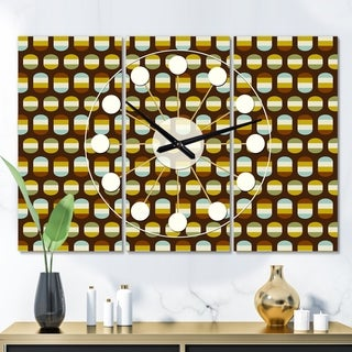 Designart 'Retro Polka dots' Oversized Mid-Century wall clock - 3 Panels - 36 in. wide x 28 in. high - 3 Panels