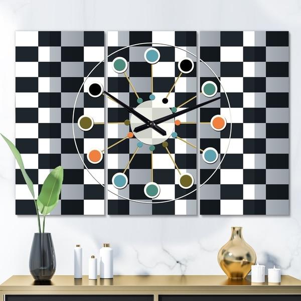 Designart 'Geometric Monochrome Pattern I' Oversized Mid-Century wall clock - 3 Panels - 36 in. wide x 28 in. high - 3 Panels