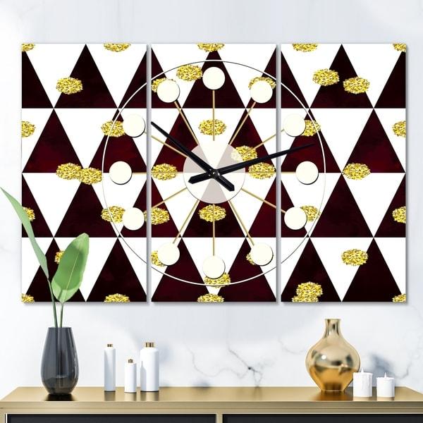 Designart 'Gold Polka Dot Pattern II' Oversized Mid-Century wall clock - 3 Panels - 36 in. wide x 28 in. high - 3 Panels