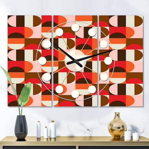 Designart 'Retro Geometric Design II' Oversized Mid-Century wall clock - 3 Panels - 36 in. wide x 28 in. high - 3 Panels