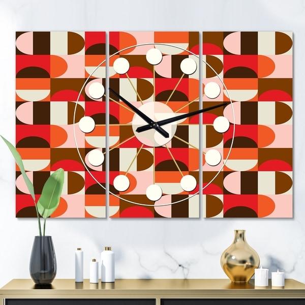 Designart 'Retro Geometric  Design II' Oversized Mid-Century wall clock - 3 Panels - 36 in. wide x 28 in. high - 3 Panels. Opens flyout.