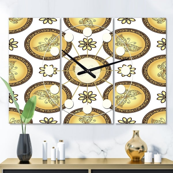 Designart 'Gold and browne pattern with gradient vintage circles' Oversized Mid-Century wall clock - 3 Panels. Opens flyout.