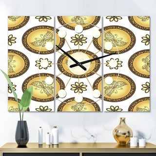 Designart 'Gold and browne pattern with gradient vintage circles' Oversized Mid-Century wall clock - 3 Panels