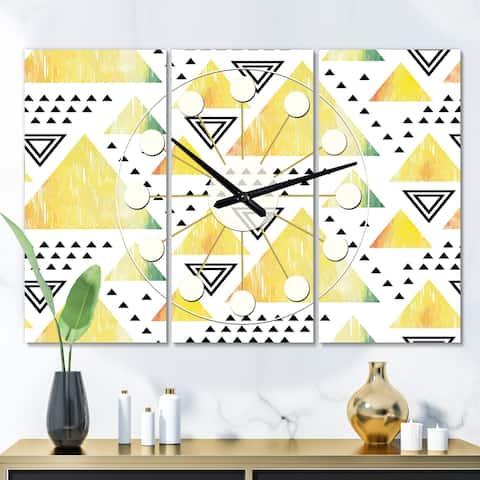 Designart 'Triangular Retro Design IV' Oversized Mid-Century wall clock - 3 Panels - 36 in. wide x 28 in. high - 3 Panels