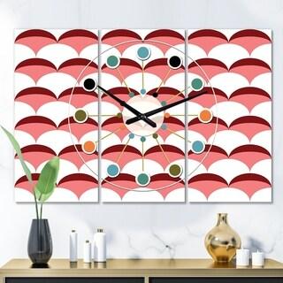 Designart 'Geometrical Retro Design V' Oversized Mid-Century wall clock - 3 Panels - 36 in. wide x 28 in. high - 3 Panels